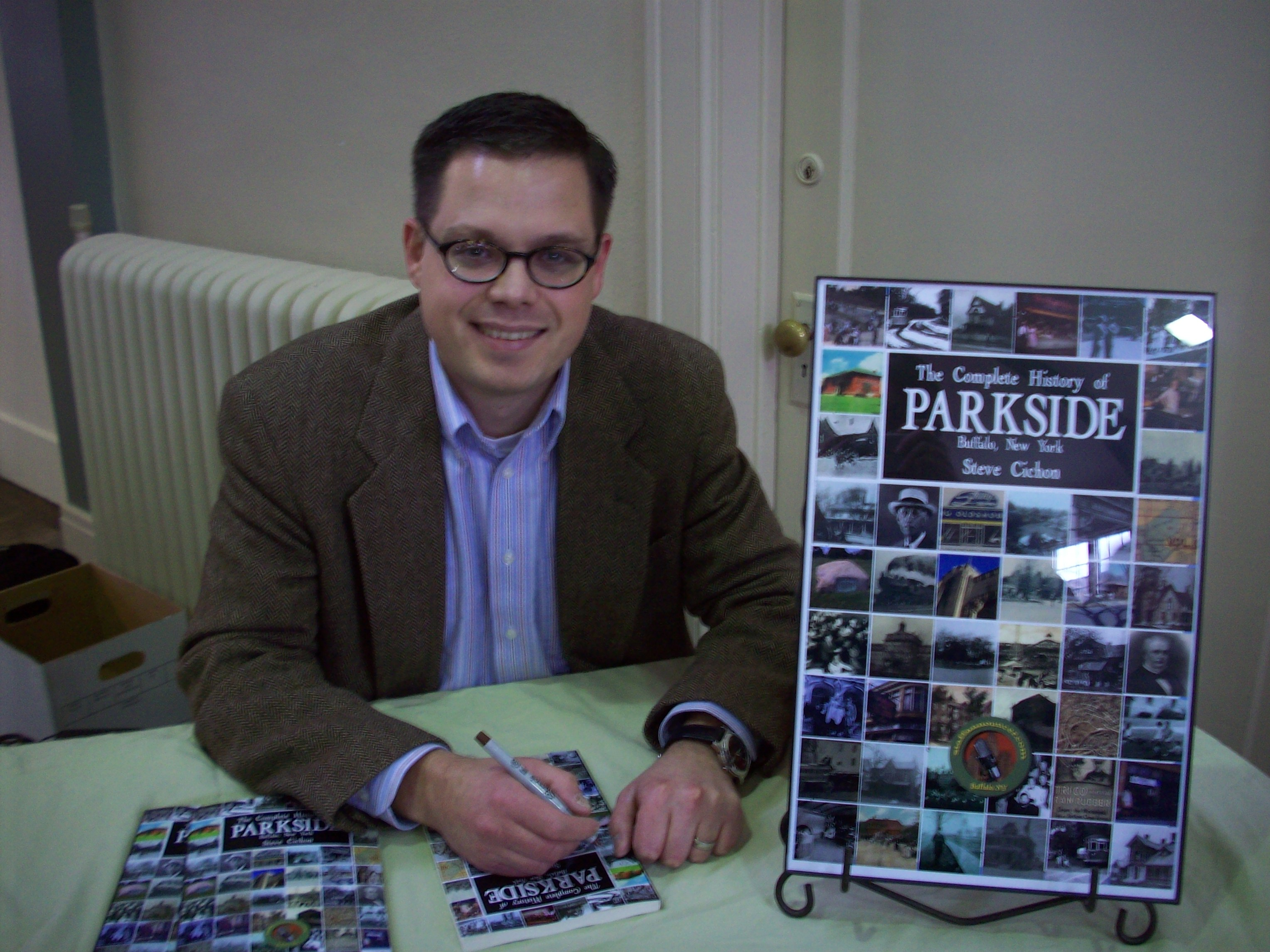 Steve signing The Complete History of Parkside